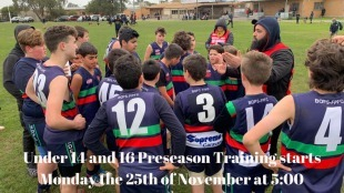 Under 14 and under 16 Boys pre-season training