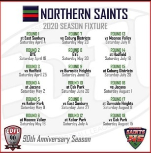 Northern Saints 2020 Senior Fixture!