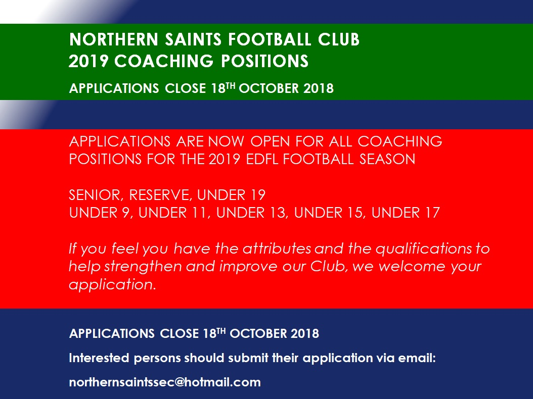 Northern Saints 2019 Coaching Positions