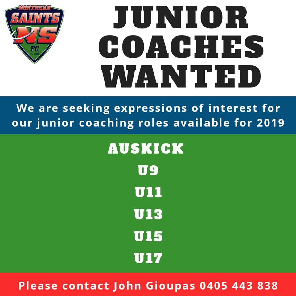 Junior Coaches Wanted