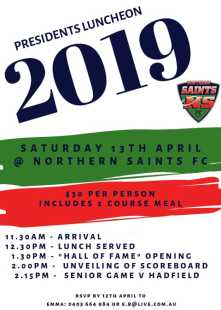 Presidents Luncheon and Past Players and Sponsors Day this Saturday!