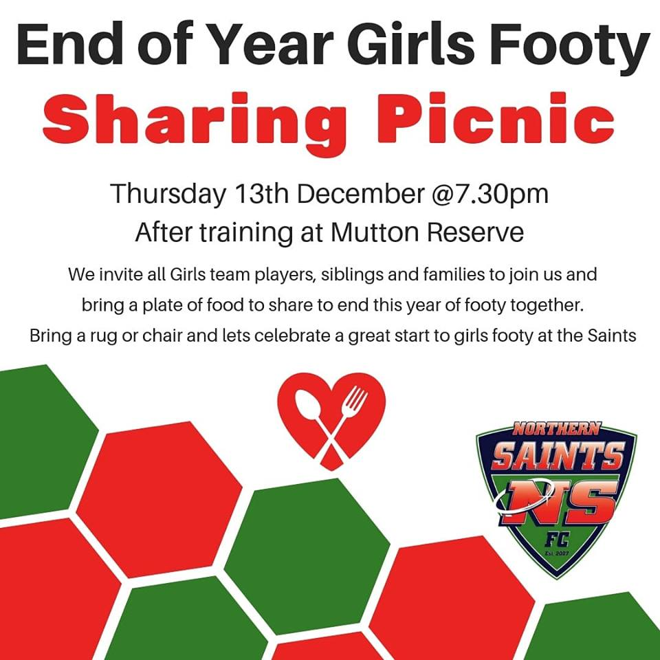End of Year Girls Footy Picnic!